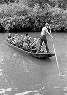 Eighties, black and white photo, group of children on a gondola ride on the Neckar, gondoliere, teenager, D_Tuebingen, Neckar, Steinlach, Ammer, Schoe...