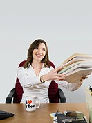 Office worker handing over files