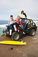 Surfer friends with vehicle