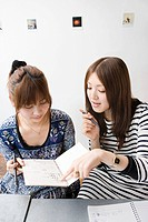 Young women looking at note book (thumbnail)