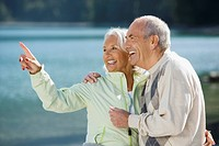 Germany, Bavaria, Walchensee, Senior couple, laughing
