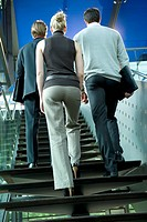 Germany, business people climbing stairs, rear view