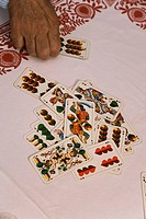 Set of playing cards, elevated view