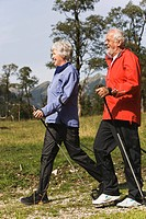 Austria, Karwendel, Ahornboden, Senior couple nordic walking