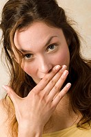 Young woman, hand to mouth, portrait, close up