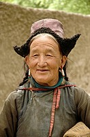 Old Ladakhi woman in the village of Alchi Ladakh, India