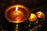 Brass butter candles at Tiksey Gompa Tiksey, Ladakh, India