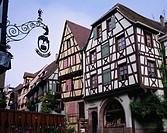 Street corner, Riquewihr, Alsace, France