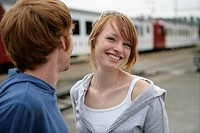 Young couple, train station, laughing, people, cou (thumbnail)