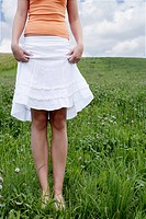 teenager, girl, showing, knees, grass, nature, por