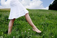 teenager, girl, walking, grass, nature, portrait