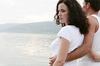Couple, hug, feel, view, bright, lake, tender, por (thumbnail)