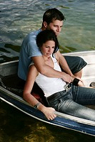 couple, relaxing, feeling, tender, boat, portrait