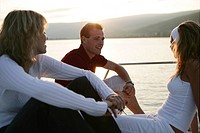 young adults, enjoy, sunset, yacht, trip, portrait