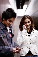 teenage couple, phoning, happy, leisure, young adu