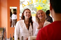 female, teenagers, happy, order, restaurant, girls