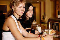 Girls, teenagers, beauty, happy, cafe, looking, te (thumbnail)