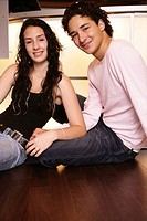 teenage couple, girl, boy, sitting, floor, teens