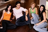 teenagers, sitting, floor, group, girls, boy, teen