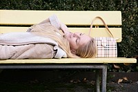 Woman, lying, bench, park, smiling, free, female (thumbnail)