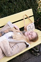 Woman, lying, bench, park, relaxed, smiling, femal (thumbnail)