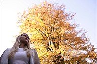 woman, outdoor, park, tree, autumn, beauty, female