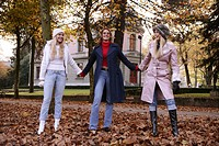 women, outdoor, laughing, park, urban, fall, fun
