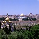 View over the Old City of Jerusalem showing the Church of Mary Magdalene and Dome of the Rock