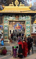 Nepal, Kathmandu Valley, Swayambhunath, entrance to the stupa
