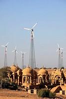 India, Rajasthan, Thar Desert, Bada Bagh, cenotaphs, wind turbines, generators