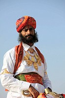 India, Rajasthan, Jaisalmer, Desert Festival, rajasthani man portrait