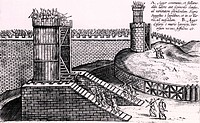 Roman siege towers positioned to give attackers the advantage of height above the city walls. From Poliorceticon sive de machinis tormentis telis by J...