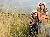 Kids dressed up as north american indian