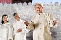 three oriental senior adults doing Taijiquan