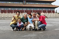 Chinese family getting together in the Forbbiden City,China
