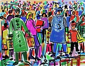 Holiday shopping crowd, 2007, Diana Ong b.1940/Chinese_American Computer Graphics