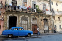 Classic old car or almendrones called on a downtown street of Havana
