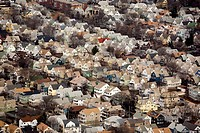 Neighborhood housing, Somerville, aerial, Boston, Massachusetts, USA