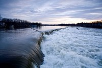 Spring flood, Pawtucket Falls, Merrimac River, Lowell, Massachusetts, USA