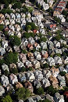 Aerial view housing rows, Somerville, Massachusetts, USA