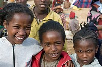 Young girls from the Dorze tribe Omovalley Ethiopia Africa