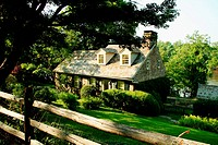 Stone house in Pennsylvania on Delaware river, USA, America Traditional houses in PA, unlike those in NJ are built with stone