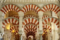 Famous interiors of the Mezquita Cordoba Mosque, Andalucia, Spain