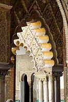 Mudejar style interiors of Reales Alcazar Royal Castle Seville, Andalucia, Spain