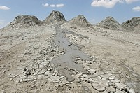 Active mud flow from line of mud volcanoes, in the Firuze crater, Gobustan, Baku, Azerbaijan, Central Asia, Asia