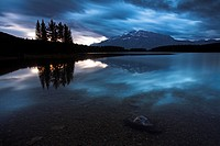 A stormy morning over Two Jacks Lake, Banff National Park, UNESCO World Heritage Site, Alberta, Canada, North America