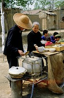 geography / travel, China, people, street restaurant near Fayan temple, Beijing, 1970s, Asia, historic, historical, gastronomy, street scene, stand, f...