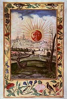alchemy, allegory, the rising sun as alchemistic symbol, miniature, Splendor Solis, Augsburg, circa 1600, Germanisches Nationalmuseum, Nuremberg, sunr...