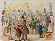 leisure / sports, fairground, Im Wachsfiguren Kabinett At the waxworks, copper engraving, coloured, France, circa 1840, historic, historical, visitors...