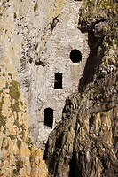 Culver Hole, an old Smugglers Hideout built into the Cliff Face, Port Eynon, Gower, South Wales, UK